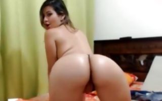 Gorgeous brunette girlfriend fingering ass hole solo