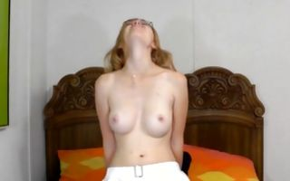 Sweet young GF with cute titties nicely riding on sex toy