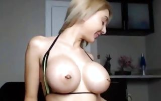 Pretty naughty ex-girlfriend nicely playing with big sex toy