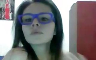 Hot brunette Ex-GF in glasses nicely riding on big pecker