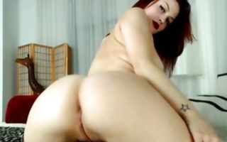 Sexy redhead GF with big booty posing and fingering cunt