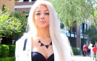 Naughty blonde girlfriend Valantina posing and fingering slit