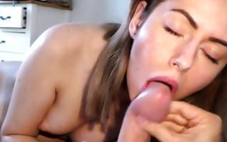 Pretty young girlfriend Sharlotte nicely sucking meaty pecker