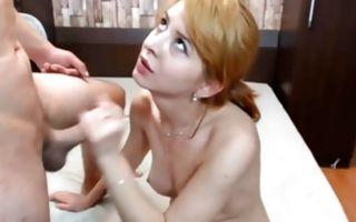 Nasty ex-girlfriend with nice titties sucking heavy pecker