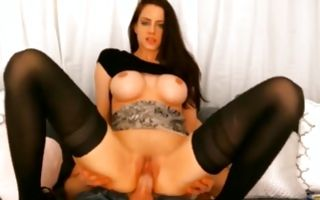 Horny brunette Ex-GF with huge boobs riding on big pecker