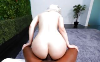 Gorgeous blonde Ex-GF Jessy jumping on big black pecker
