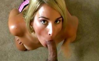 Stunning blonde Ex-GF Summer deeply sucking ramrod