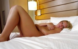 Fabulous blonde Ex-GF with cute face playing with muff