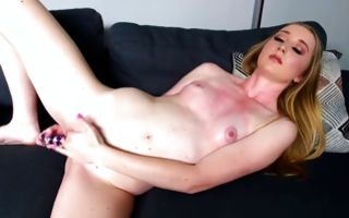 Naughty light-haired girlfriend masturbating juicy cunt