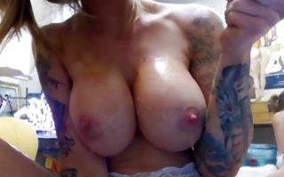 Sexy amateur bitch with huge boobs swallowing big dildo