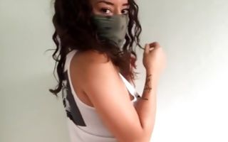 Ebony cutie dancing in mask solo hd