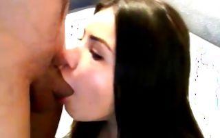 Pretty brunette girlfriend swallowing rod before rough sex